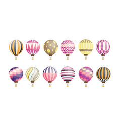 collection of round hot air balloons of various vector image