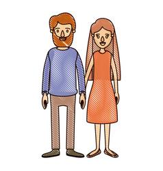 Color crayon stripe cartoon full body couple woman vector