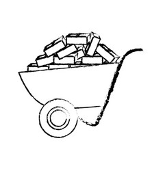 Construction wheelbarrow equipment vector