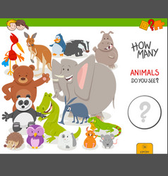Count animals educational game for children vector