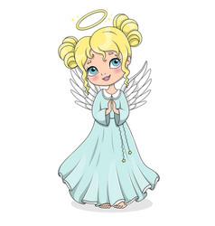 cute cartoon christmas angel isolated on white vector image