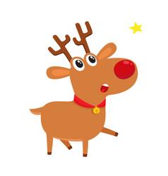 Cute cartoon reindeer with red nose surprised vector