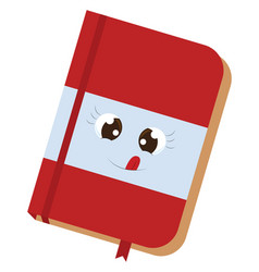 cute red notebook on white background vector image