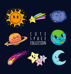 cute space collection vector image