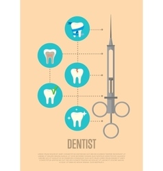 Dentist banner with syringe and tooth symbols vector image
