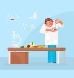 Diet researching concept with dietician doctor vector