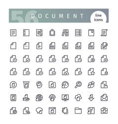 Document line icons set vector
