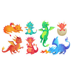 dragon kids fantasy baby dragons funny fairytale vector image
