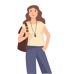 European girl with backpack international vector