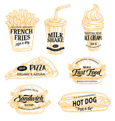 fast food sketch icons and promo signs vector image