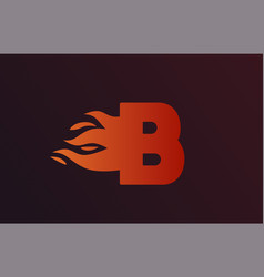Fire red flames b alphabet letter icon vector