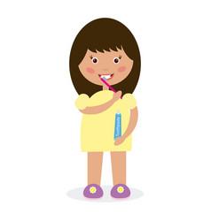 girl brushing her teeth vector image