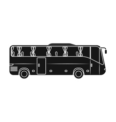 Green tour bus icon in black style isolated on vector image