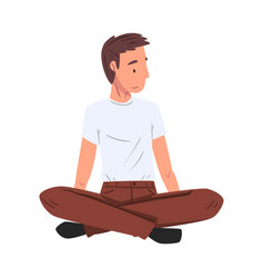 Guy in casual clothes male student sitting on vector