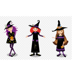 halloween of three young witch girls isolated on vector image