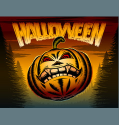 halloween pumpkin horror spooky hatching party vector image