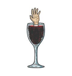 hand drowning in wine sketch vector image