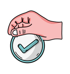 hand with medicine symbol to help the people vector image