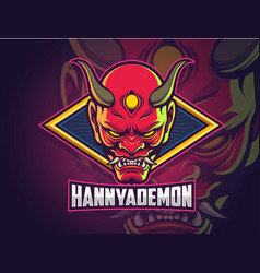 hannya demon face esports logo design vector image
