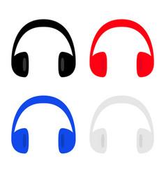 headphones earphones icon set black red blue gray vector image