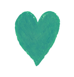 heart shape drawn with green vector image