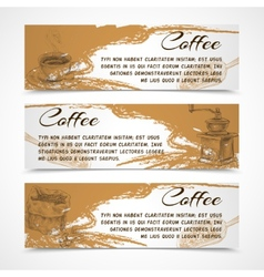 Horizontal retro coffee set banners vector