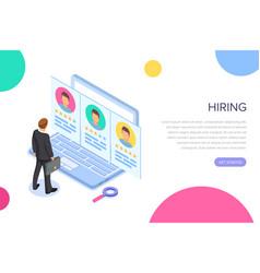 isometric hiring recruitment concept job vector image
