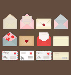 large set different envelopes some with hearts vector image