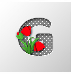 letter g with paper cut poppy flowers vector image