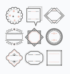 line isolated black blank empty emblems icons set vector image