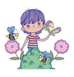 little boy with butterfly and bees in the vector image