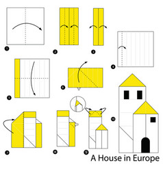 Make origami a house in europe vector