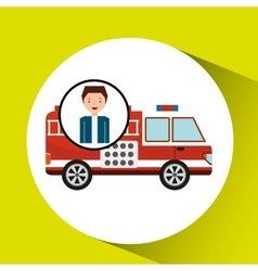Man cartoon firetruck icon graphic vector