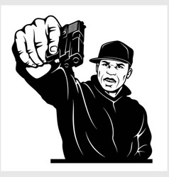 Man with gun ghetto warriors vector