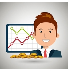 man with statistics graphic and coins isolated vector image