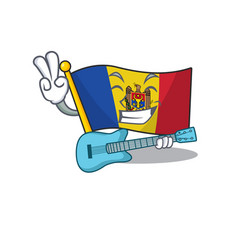 Mascot cartoon flag moldova in with with guitar vector