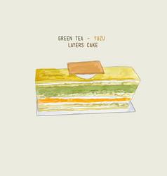 Matcha green tea and yuzu orage layers cake vector