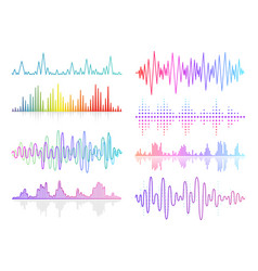 music sound waves set audio digital vector image