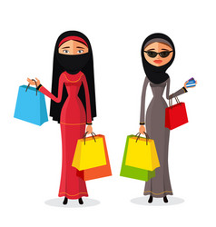 Muslim womam shopping women with shopping bags vector