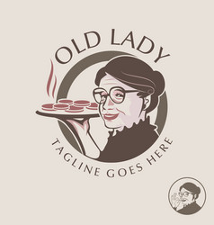 old lady theme logo set vector image