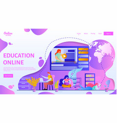 Online education webpage template flat vector