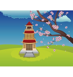 Oriental House and Blooming Sakura2 vector image