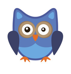 Owl funny stylized icon symbol blue colors vector