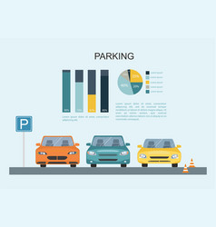 parking lot with a set of different cars vector image