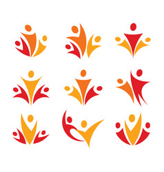 People union logo set abstract family icon vector