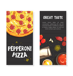 pepperoni pizza with ingredients banner template vector image