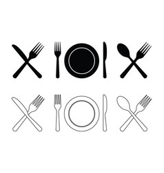 plate fork knife spoon cutlery icons for dinner vector image