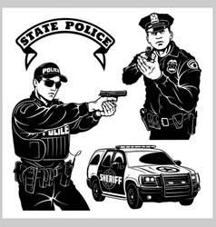 Police man - badges and design elements vector