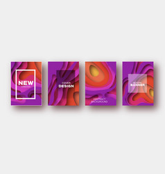 red violet paper cut wave shapes layered curve vector image