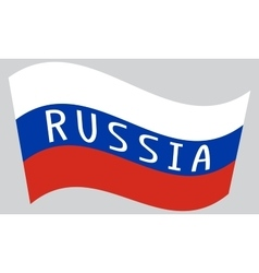 Russian flag waving with word Russia vector image